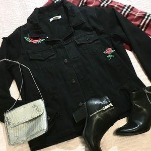 Roses Black Jean Jacket - Medium